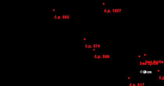 Hostivař 574, Praha na parcele st. 714/1 v KÚ Hostivař, Katastrální mapa