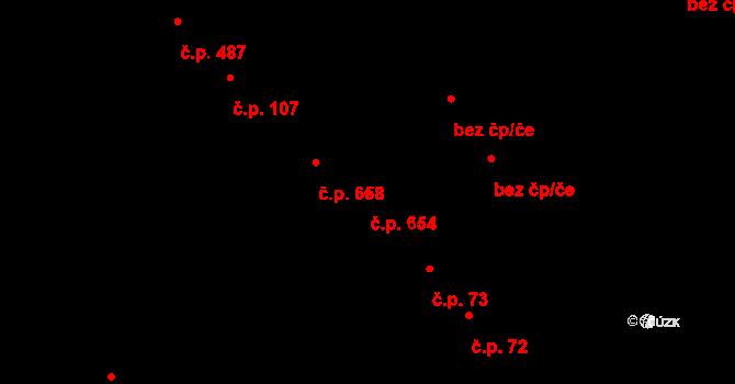 Bílé Předměstí 654, Pardubice na parcele st. 2722 v KÚ Pardubice, Katastrální mapa