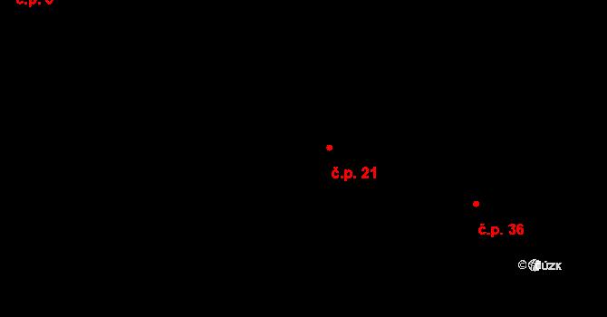 Bohunice 21 na parcele st. 10 v KÚ Bohunice u Tvrzic, Katastrální mapa