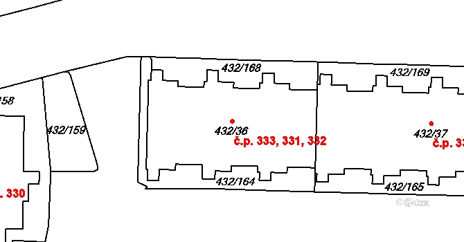 Petrovice 331,332,333, Praha na parcele st. 432/36 v KÚ Petrovice, Katastrální mapa