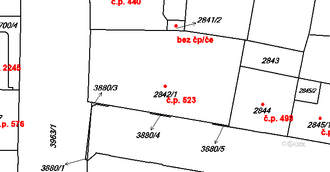 Libeň 523, Praha na parcele st. 2842/1 v KÚ Libeň, Katastrální mapa