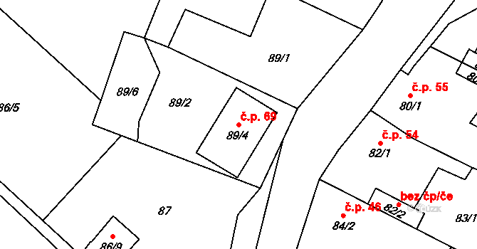 Malé Březno 69 na parcele st. 89/4 v KÚ Malé Březno, Katastrální mapa