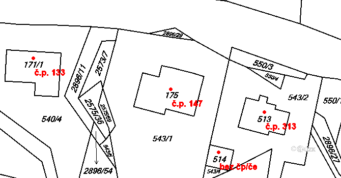 Kunčina 147 na parcele st. 175 v KÚ Kunčina, Katastrální mapa