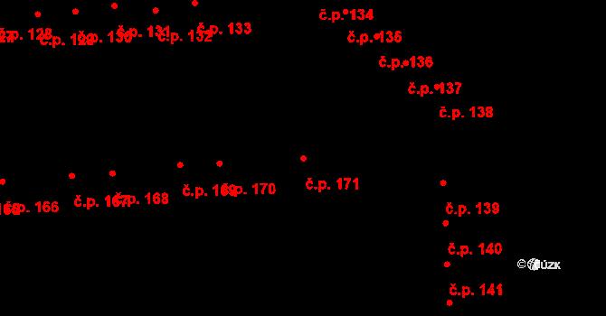 Doubravice 171, Pardubice na parcele st. 1287 v KÚ Semtín, Katastrální mapa