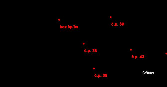 Lhota 38, Valašské Meziříčí na parcele st. 58 v KÚ Lhota u Choryně, Katastrální mapa