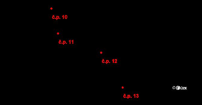 Malé Přítočno 12 na parcele st. 16 v KÚ Malé Přítočno, Katastrální mapa