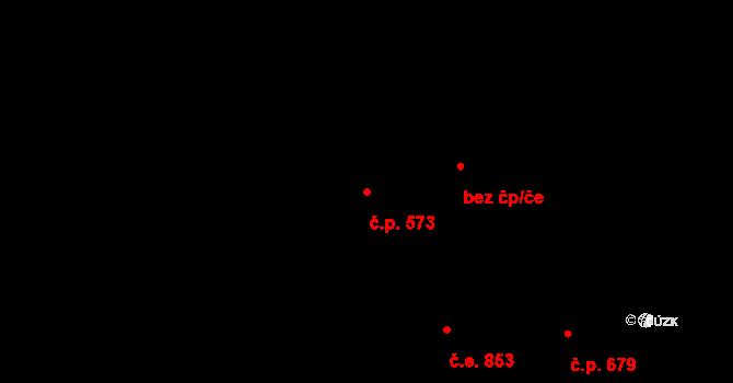 Jílové u Prahy 573 na parcele st. 2201 v KÚ Jílové u Prahy, Katastrální mapa