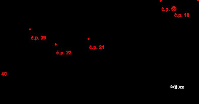 Nenačovice 21 na parcele st. 21 v KÚ Nenačovice, Katastrální mapa