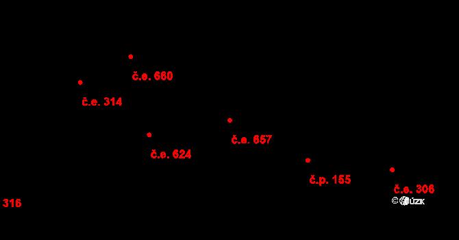 Lety 657 na parcele st. 1414 v KÚ Lety u Dobřichovic, Katastrální mapa