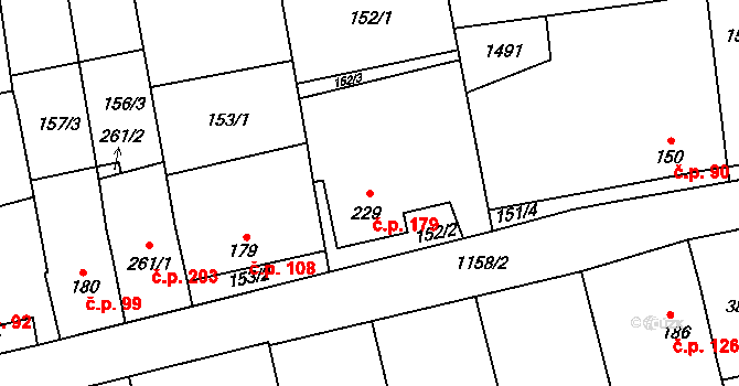 Prštné 179, Zlín na parcele st. 229 v KÚ Prštné, Katastrální mapa