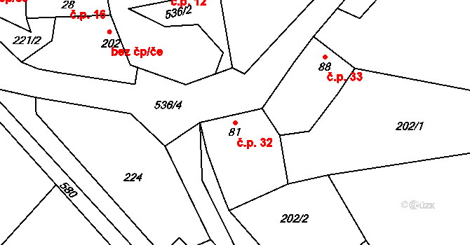 Dolní Bezděkov 32, Bratronice na parcele st. 81 v KÚ Dolní Bezděkov u Kladna, Katastrální mapa