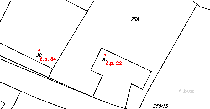 Radíkovice 22 na parcele st. 37 v KÚ Radíkovice, Katastrální mapa