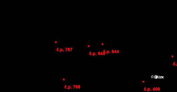 Prštné 645, Zlín na parcele st. 1047 v KÚ Prštné, Katastrální mapa