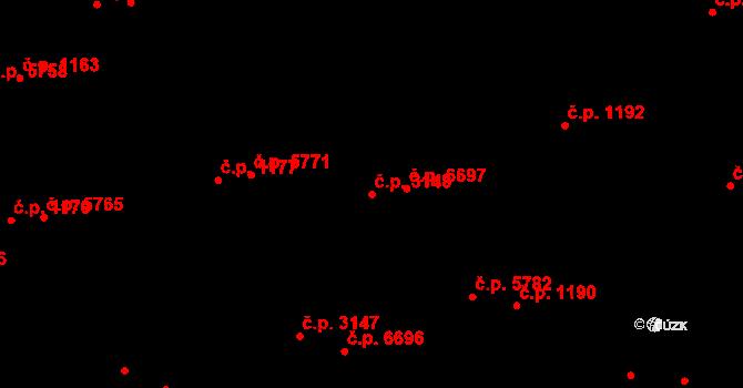 Zlín 3148 na parcele st. 3816/1 v KÚ Zlín, Katastrální mapa