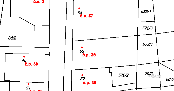 Jankovská Lhota 38, Jankov na parcele st. 53 v KÚ Jankovská Lhota, Katastrální mapa