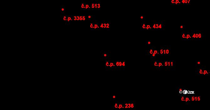 Kladno 694 na parcele st. 6494/1 v KÚ Kladno, Katastrální mapa