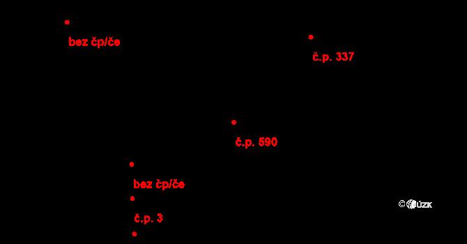 Kudlov 590, Zlín na parcele st. 906 v KÚ Kudlov, Katastrální mapa