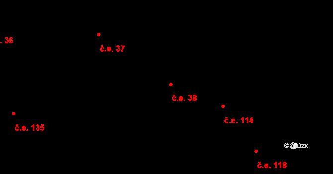 Bojanovice 38 na parcele st. 121 v KÚ Bojanovice, Katastrální mapa