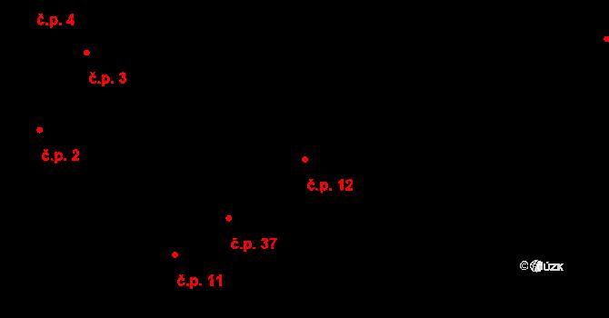 Svatý Jan pod Skalou 12 na parcele st. 22 v KÚ Svatý Jan pod Skalou, Katastrální mapa