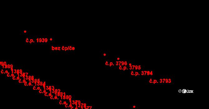 Zlín 3796 na parcele st. 4548 v KÚ Zlín, Katastrální mapa