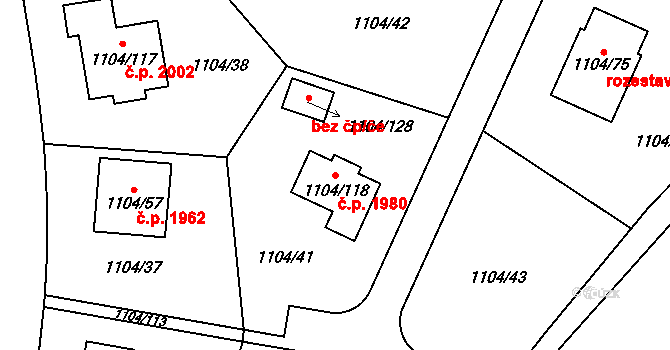 Trnovany 1980, Teplice na parcele st. 1104/118 v KÚ Teplice-Trnovany, Katastrální mapa