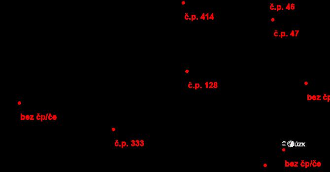 Bílý Potok 128 na parcele st. 185 v KÚ Bílý Potok pod Smrkem, Katastrální mapa