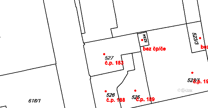 Zábrdovice 153, Brno na parcele st. 527 v KÚ Zábrdovice, Katastrální mapa