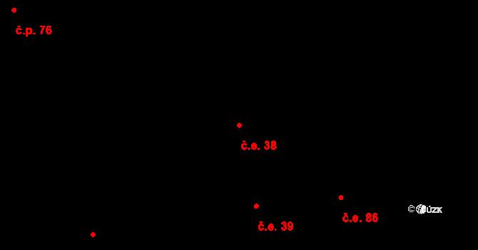 Lhota 38 na parcele st. 280 v KÚ Lhota u Dřís, Katastrální mapa