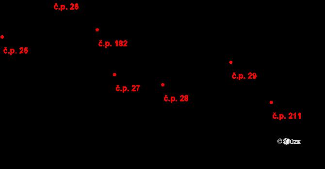 Nový Knín 28 na parcele st. 38 v KÚ Nový Knín, Katastrální mapa