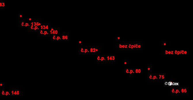 Hradec 143 na parcele st. 86/2 v KÚ Hradec u Stoda, Katastrální mapa
