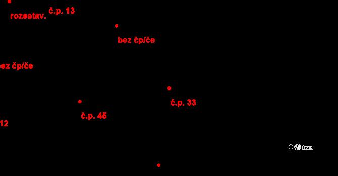 Loucká 33 na parcele st. 250 v KÚ Loucká, Katastrální mapa