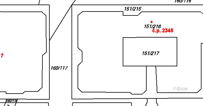 Stodůlky 2345, Praha na parcele st. 151/216 v KÚ Stodůlky, Katastrální mapa