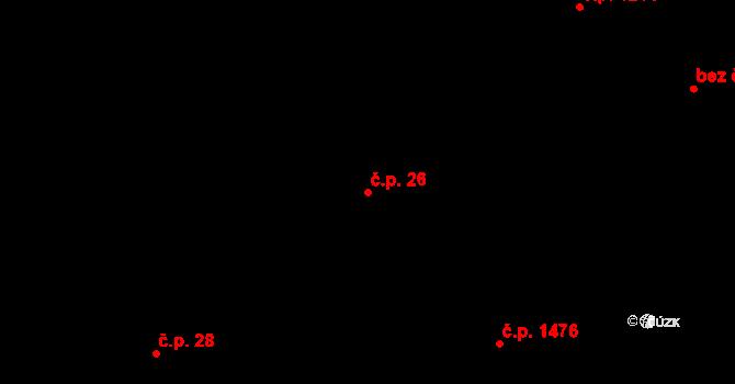 Bruntál 26 na parcele st. 59/1 v KÚ Bruntál-město, Katastrální mapa