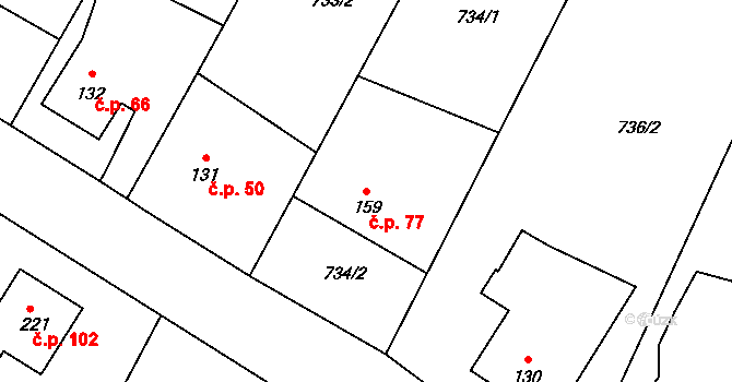 Vilémov 77, Humpolec na parcele st. 159 v KÚ Vilémov u Humpolce, Katastrální mapa