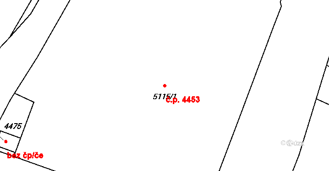 Zlín 4453 na parcele st. 5115/1 v KÚ Zlín, Katastrální mapa