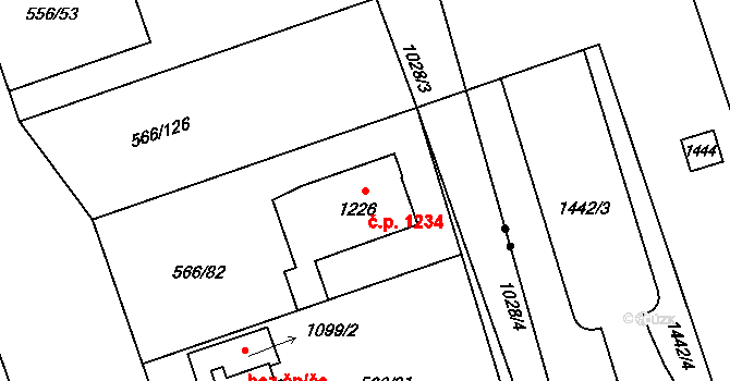 Zábřeh 1234, Ostrava na parcele st. 1226 v KÚ Zábřeh nad Odrou, Katastrální mapa