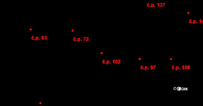 Závada 102 na parcele st. 106/1 v KÚ Závada u Hlučína, Katastrální mapa
