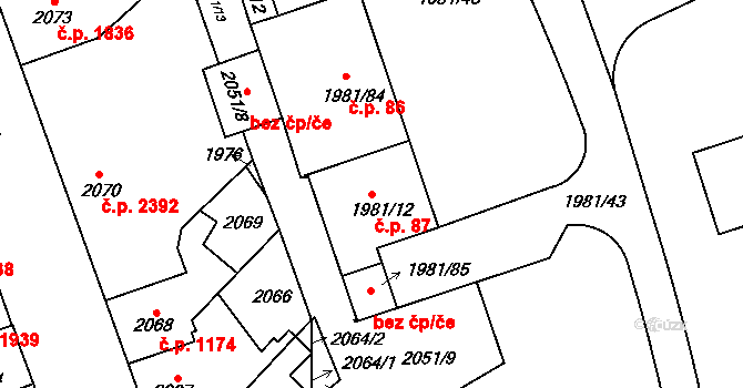 Přerov I-Město 87, Přerov na parcele st. 1981/12 v KÚ Přerov, Katastrální mapa