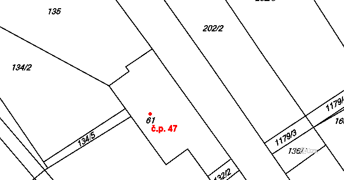 Krakov 47 na parcele st. 61 v KÚ Krakov, Katastrální mapa