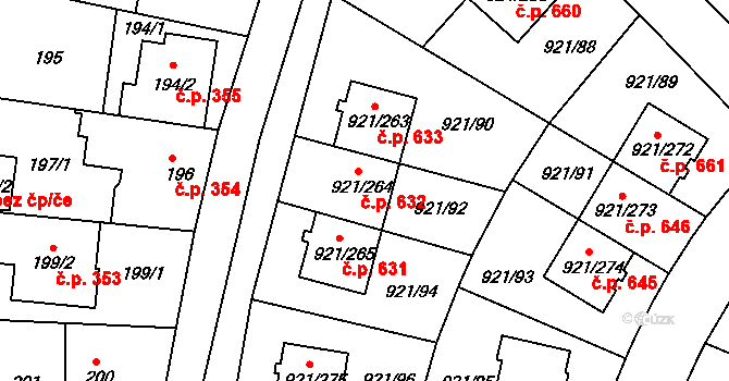 Hostavice 632, Praha na parcele st. 921/264 v KÚ Hostavice, Katastrální mapa