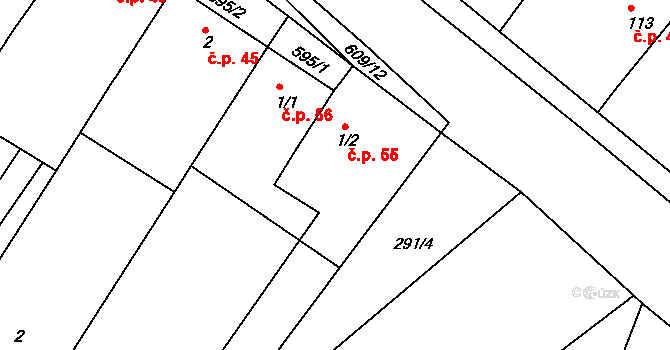 Jaroslav 55 na parcele st. 1/2 v KÚ Jaroslav, Katastrální mapa
