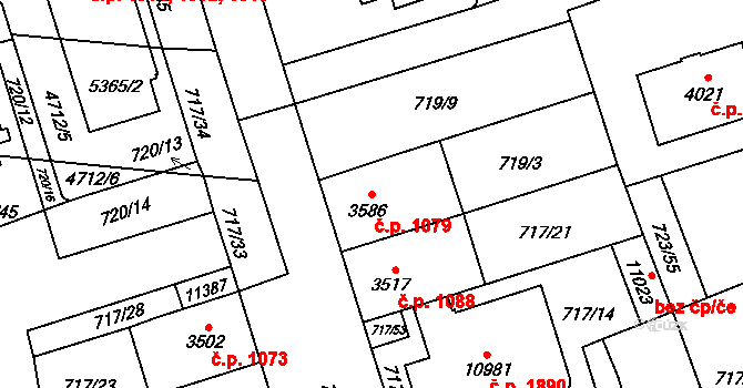 Bílé Předměstí 1079, Pardubice na parcele st. 3586 v KÚ Pardubice, Katastrální mapa