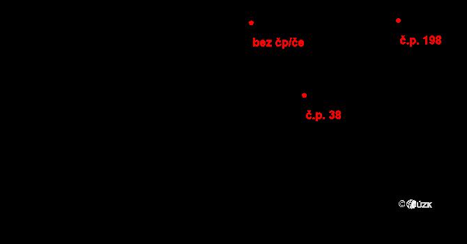 Lhota u Vsetína 38 na parcele st. 49/2 v KÚ Lhota u Vsetína, Katastrální mapa