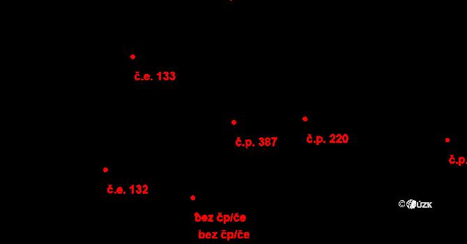 Davle 387 na parcele st. 675 v KÚ Davle, Katastrální mapa