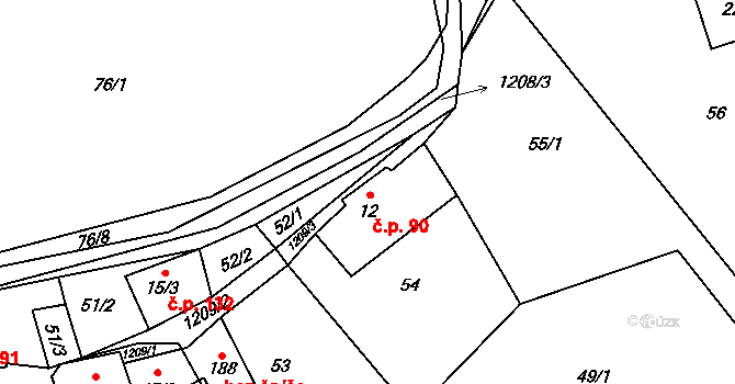 Mistrovice 90 na parcele st. 12 v KÚ Mistrovice nad Orlicí, Katastrální mapa