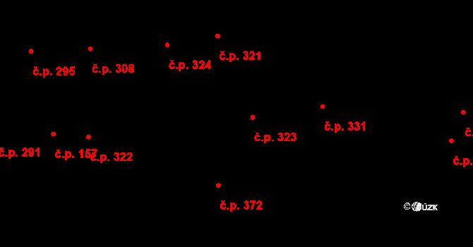 Humny 323, Pchery na parcele st. 607 v KÚ Pchery, Katastrální mapa