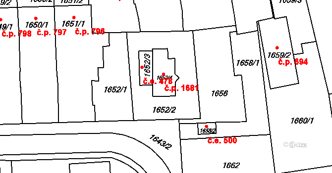 Šlapanice 1681 na parcele st. 1652/4 v KÚ Šlapanice u Brna, Katastrální mapa