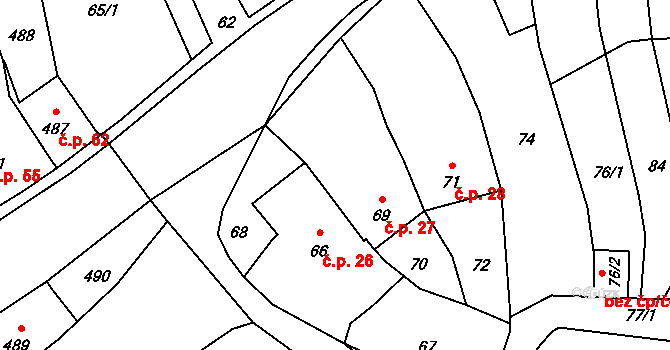 Starý Jičín 27 na parcele st. 69 v KÚ Starý Jičín, Katastrální mapa