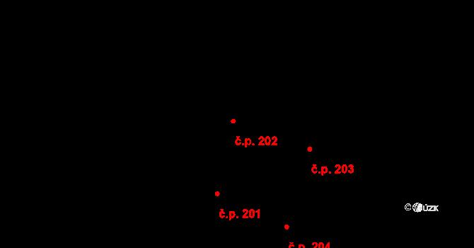 Trstěnice 202 na parcele st. 223/1 v KÚ Trstěnice u Moravského Krumlova, Katastrální mapa