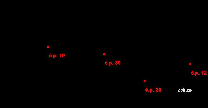 Buková Lhota 38, Benešov na parcele st. 348 v KÚ Úročnice, Katastrální mapa